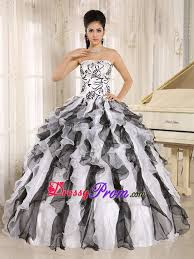 black and white quinceanera dresses and white strapless embroidery dresses for quinceaneras with ruffles