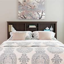Free Standing Headboard Espresso Double Full Or Queen Bookcase Headboard Bed 3 Shelves Pp