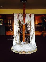 church decorations for easter easter use of cross branches rocks and flowing material