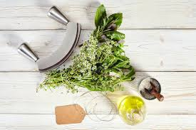 cuisine bouquet garni mezzaluna knife bouquet garni olive and salt stock photo