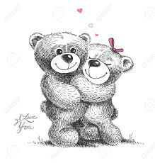 teddy bear pencil sketch couple photo colour pencil drawing for