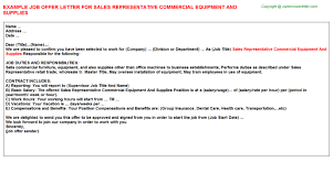 sales representative commercial equipment and supplies offer letter