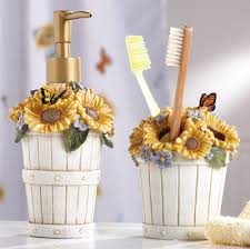 country sunflower basket bathroom accessory set everything