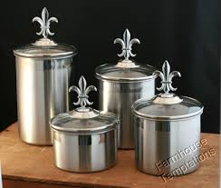 stainless steel kitchen canisters sets stainless steel fleur de lis finials canister set kitchen 4pc