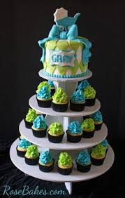turquoise u0026 lime green baby shower cake and cupcake tower limes