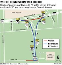 Urbana Ohio Map by Northbound I 75 Closing For Work In North Toledo The Blade