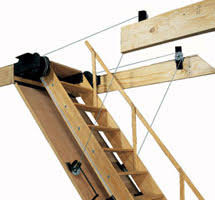 folding attic stairs hand rail and pulley system misc ideas