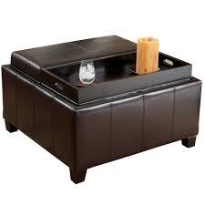 furniture big black leather ottoman tray top storage with wooden