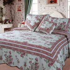 Quilted Cotton Coverlet Dada Bedding French Country Cottage Floral Mauve Cotton Patchwork