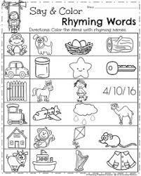 spring kindergarten worksheets kindergarten worksheets rhyming