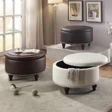 round leather ottoman ebay