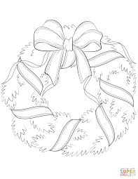 christmas wreath with red bow coloring page free printable