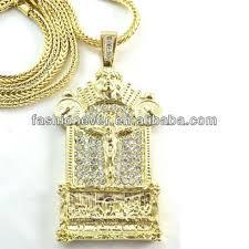 jesus hip hop necklace images Bling hip hop iced jesus gold tone finish large last supper cz jpg