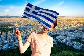 Greek Flag Background Ateny Stolica Nad Adriatykiem Na Wakacjach