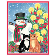 caspari cards snowman with cats mini boxed christmas cards 16 cards 16