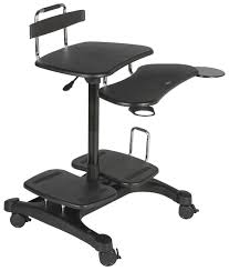 Adjustable Mobile Rolling Laptop Desk by Mobile Pc Workstation Fits Monitors Up To 27 U201d
