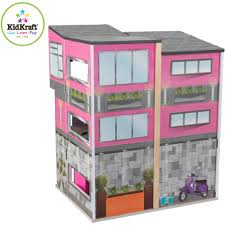 kidkraft contemporary deluxe wooden townhouse with 24 pieces of