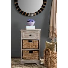 Storage Side Table by Safavieh Carrie White Washed Side Table Amh5700g The Home Depot