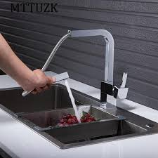 new chrome pull out kitchen faucet square brass kitchen mixer sink aliexpress buy mttuzk new chrome pull out kitchen faucet