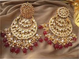 chandbali earrings buy kundan chandbali earrings online
