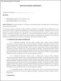 Non Disclosure Statement Template by Printable Non Disclosure Agreement Template Exle With Project