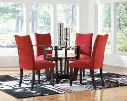 dining table and 6 red leather chairs glass dining table with red