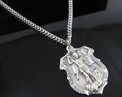 large silver necklace pendants images 925 sterling silver st michael badge pendant with 24 inch chain jpg