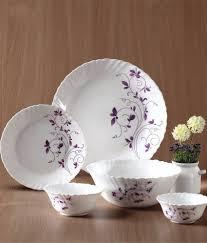 Buy Corelle Dinner Set Online India La Opala Diva Dazzle Purple Dinner Set 33 Pcs Buy Online At Best