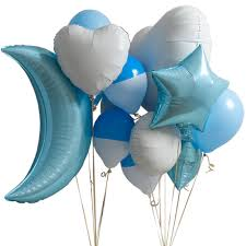 foil balloons baby blue baby shower balloon bunch by bubblegum balloons