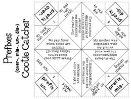 prefix and suffix cootie catchers fortune tellers by literacy spark