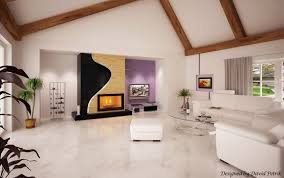 modern living room with fireplace eat 3d