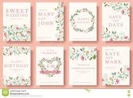 Wedding Invitation E Cards Set Of Flower Invitation Cards Colorful Greeting Wedding