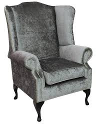 Modern High Back Wing Chair Silver Velvet Chesterfield Prince High Back Wing Chair