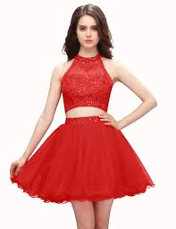 two piece scoop short red beaded homecoming dress with appliques