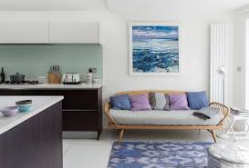 tan and blue color scheme living room contemporary with analogous