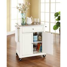 Crosley Steel Kitchen Cabinets by Crosley White Kitchen Cart With Stainless Steel Top Kf30022ewh