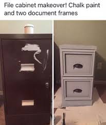 Chalk Paint On Metal Filing Cabinet Glue Picture Frames To File Cabinet Drawer Fronts For An Updated