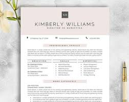 Resume Template On Microsoft Word Resume Template Etsy