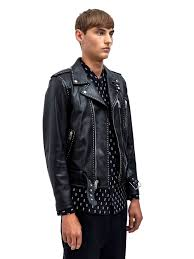 mens leather biker jacket saint laurent mens studded leather biker jacket in black for men