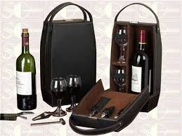 gift wine leather wine bottle box for 2 bottles wine accessories set shingo