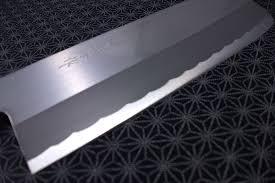 japanese nakiri kitchen knife teruhide wooden handle carbon steel