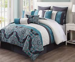 10 Pc Comforter Set Reversible Queen Blue Grey 10 Pc Comforter Set Bedding Set W Sham