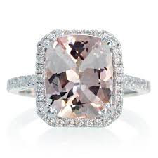 morganite engagement ring white gold white gold 11x9 cushion cut halo solitaire morganite