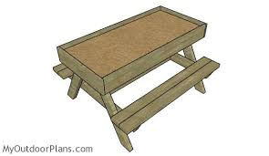 Free Plans For Picnic Table Bench Combo by Sandbox Picnic Table Plans Myoutdoorplans Free Woodworking