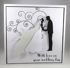 wedding cards for and groom handmade large silhouette wedding card 3d brid folksy