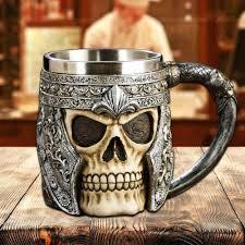 skull mug double wall stainless steel 3d skull mugs coffee tea