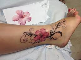 Flower Tattoo Designs On Feet - hibiscus tattoo with letters google search ink pinterest