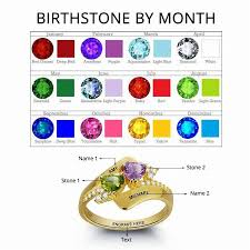 november birthstone name personalized engrave birthstone ring 925 sterling silver double