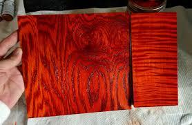 fiery vibrant orange wood stain using liquid solvent wood dye
