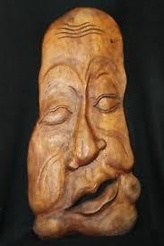 abstract wood carving freeform abstract balinese mask wood carving bali wall decor